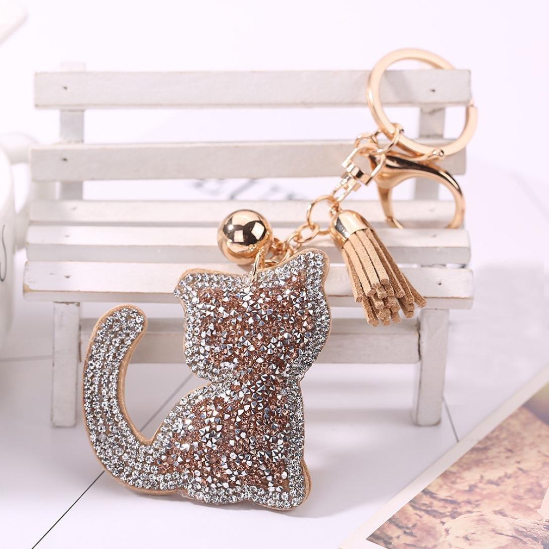 Perman Cat Rhinestone Tassel Key Pendant Bag Purse Plush Car Key Rings Keychains