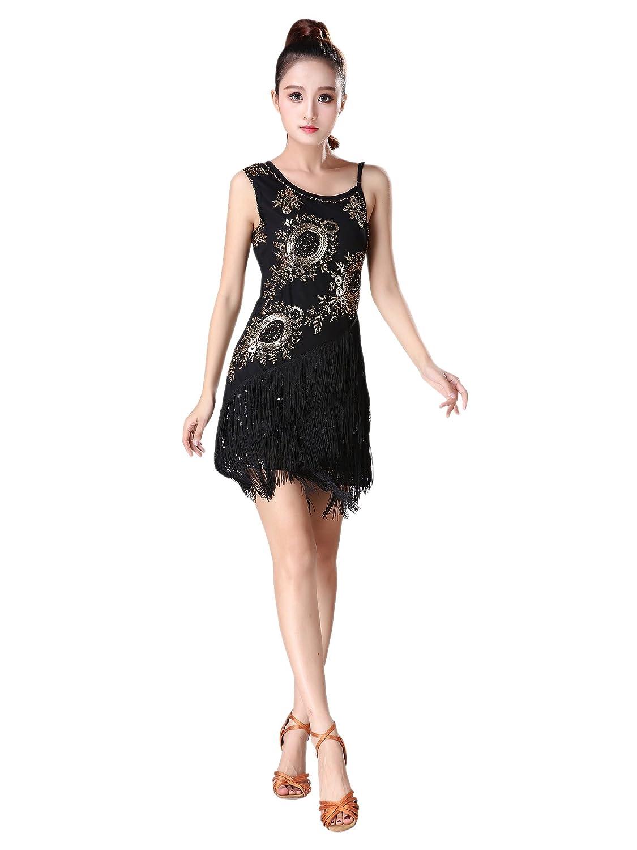 XFentech Donna Vestiti da Ballo Nappa Senza Maniche Vestito da Ballo Latino Prestazione Pratica Concorrenza Costume