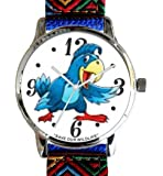 """""""Save Our Wildlife"""" Large Polished Chrome Watch with Blue Nylon Strap has a """"Parrot"""" image and Donation to the African Wildlife Foundation"""