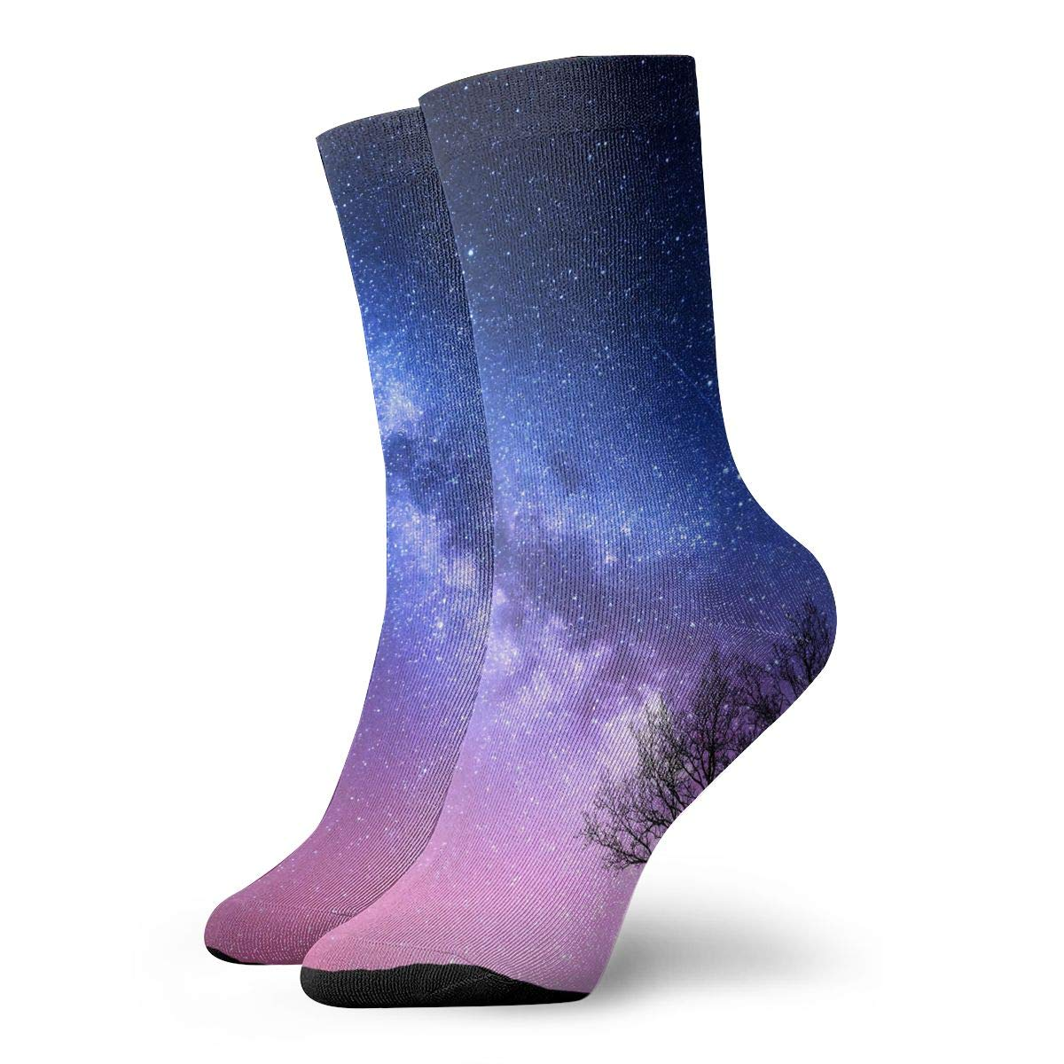 WEEDKEYCAT Purple Starry Sky Tree Adult Short Socks Cotton Cute Socks for Mens Womens Yoga Hiking Cycling Running Soccer Sports