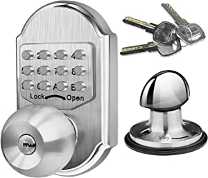 Elemake Deadbolt Door Lock, Keyless Entry Door Lock, Keyed Keypad Mechanical Door Knob, Stainless Steel Digital Combination High Security No Need Battery, Suit as Front Door Lock, Gate Lock