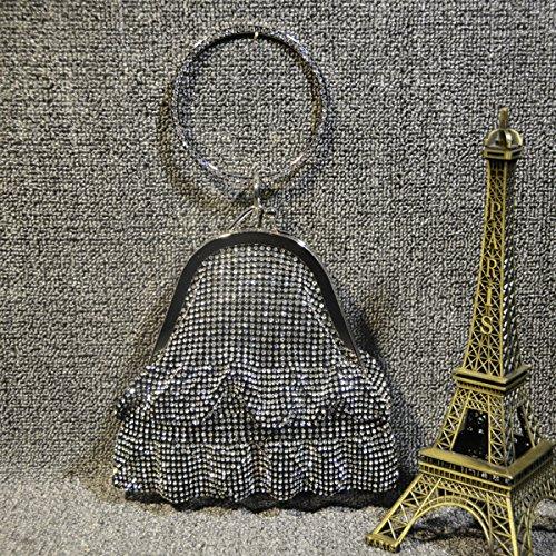 sacs Noir de bandoulière à sacs les pour soirée d'or en bracelets Flada femmes métal strass 5qwS654