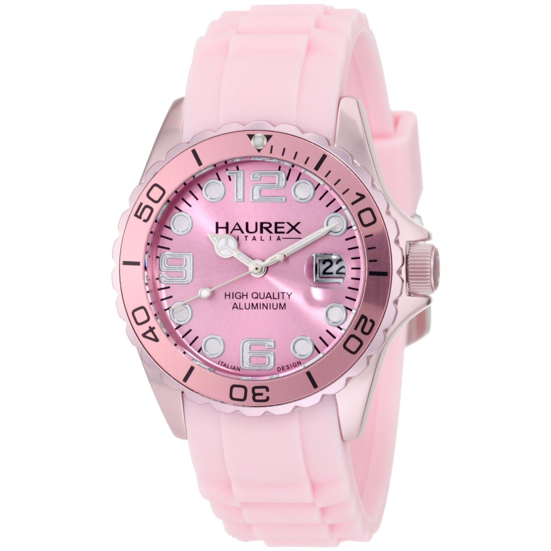 Haurex Italy Women's 1K374DP1 Ink Soft Pink Rubber Band Aluminum Watch