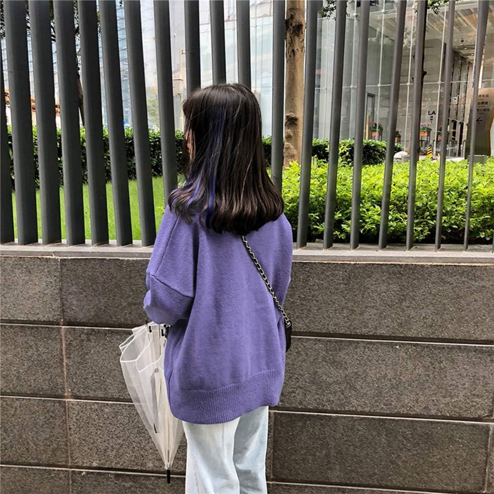 ZZAI Giacche Cardigan da Donna - Maglioni Lavorati A Maglia - vestibilità Ampia per La Primavera E L'autunno,Green Purple