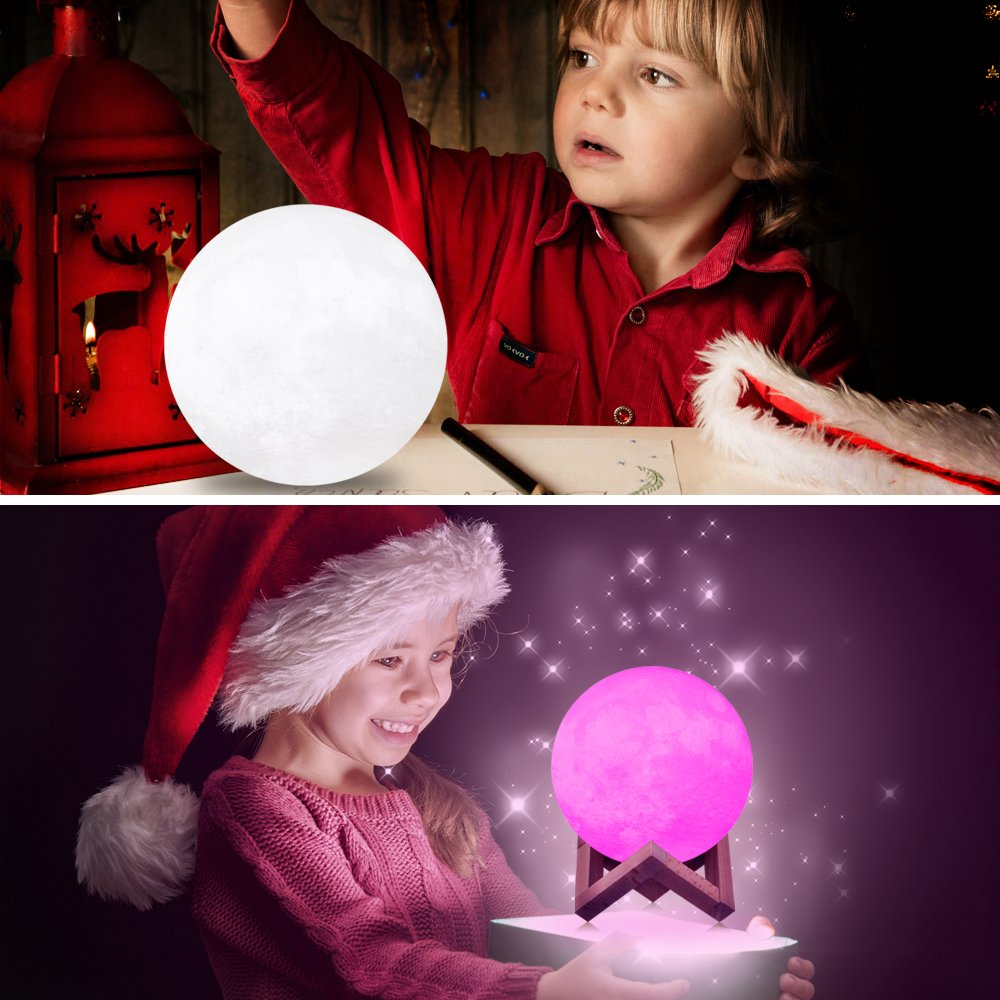Rquite Starry Sky Moon Lamp 3D Print Lunar Light 3 Colors Touch Control USB Rechargeable with Wood Stand,LED Night Lights for Kids Lover Christmas Birthday Party Gifts 5.9 LED Night Lights for Kids Lover Christmas Birthday Party Gifts 5.9