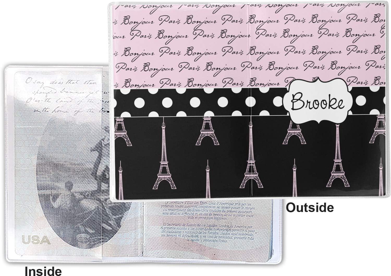 Paris Bonjour and Eiffel Tower Vinyl Passport Holder Personalized