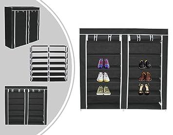 Leogreen - Guardarropa, Aparador, 2 Puertas, Armario de Zapatos, 114 x 110 x 28 cm, Negro, Material: Tubos de Acero Inoxidable: Amazon.es: Juguetes y juegos