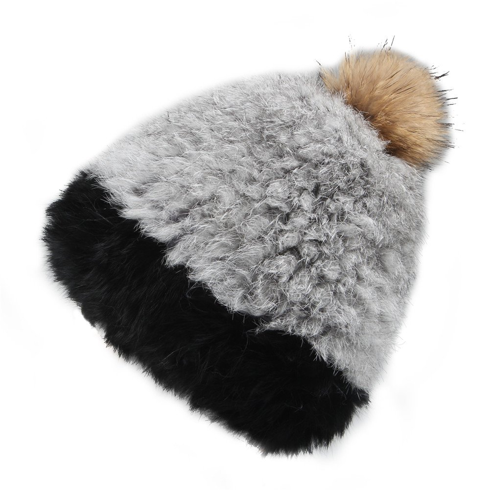 FURTALK Women's Real Rabbit Fur Hat with Raccoon Fur Pom Pom Winter Hats Cap