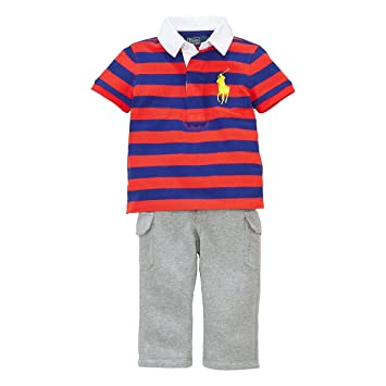 362065071 Image Unavailable. Image not available for. Color  Ralph Lauren Polo Baby Boys  Striped Big Pony Rugby Shirt ...