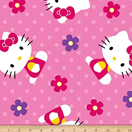 bc6d293b6 Amazon.com: Springs Creative Products Springs Creative Sanrio Hello Kitty  OI Flowers And Dots Coral Fleece Pink Fabric Fabric by the Yard