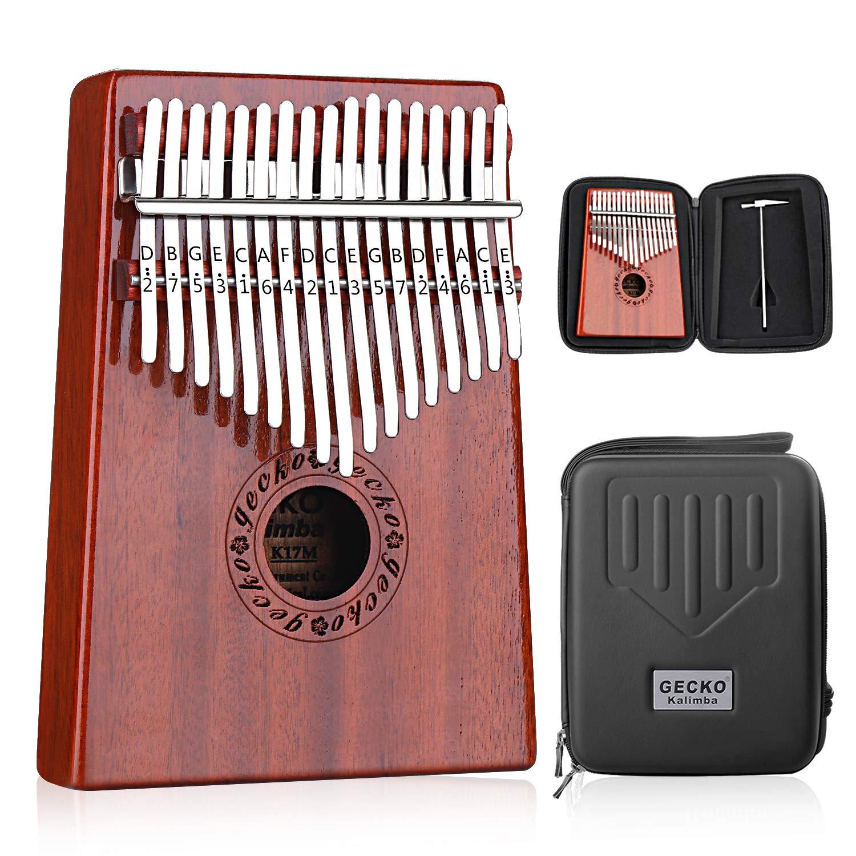 GECKO Kalimba 17 Keys Thumb Piano builts-in EVA high-performance protective box, tuning hammer and study instruction. by Gecko