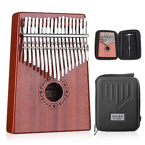 GECKO Kalimba 17 Keys Thumb Piano builts-en caja de protección EVA de alto rendimiento. Pasa ...