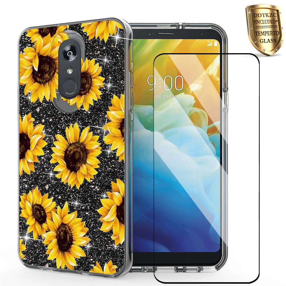 for lg Stylo 4 Phone case,lg stylo 4 Plus case Glitter,DDTKZC Tempered Glass Protector Lustre Pattern-Sparkle 3 in 1 Clear Shockproof Shell for lg Q Stylus (Yellow Sunflower)