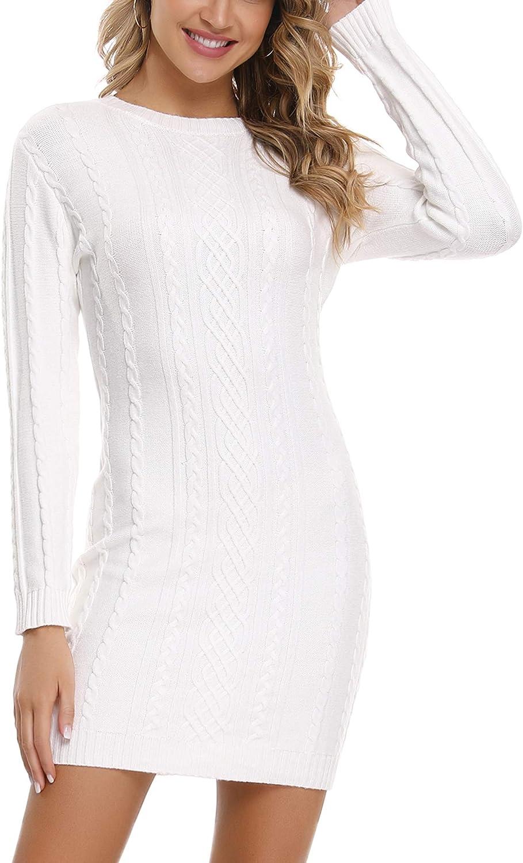 Aibrou Robe Pull Femme Col Rond /à Manche Longues Robe Mi-Longue en Tricot/é Elegant Pullover Robe Chic Casual Automne Hiver Chaud Chic