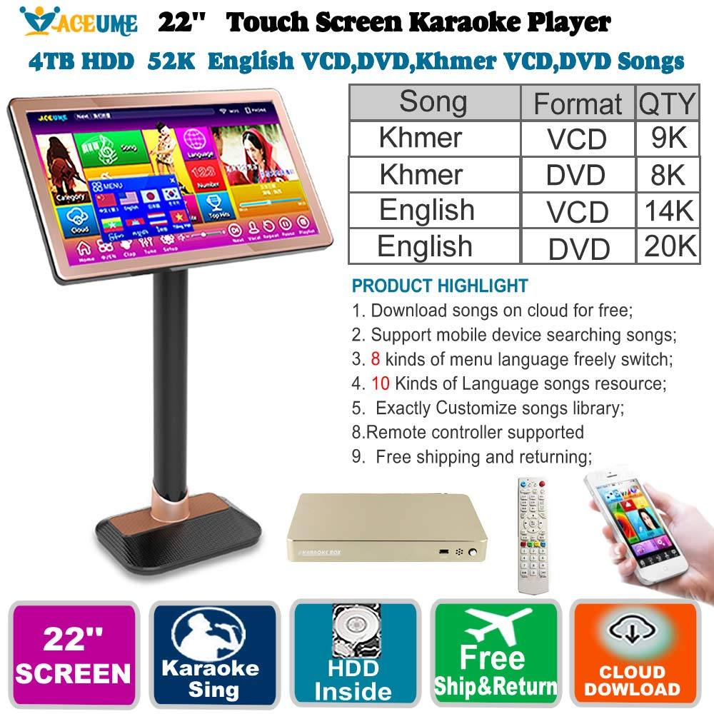 4TB HDD 52K Khmer/Cambodian VCD,DVD Songs,English VCD,DVD Songs 22'' Touch Screen Karaoke Player/Songs Machine,Jukebox,Khmer Menu,Mobile Device Select Songs, Remote Controller
