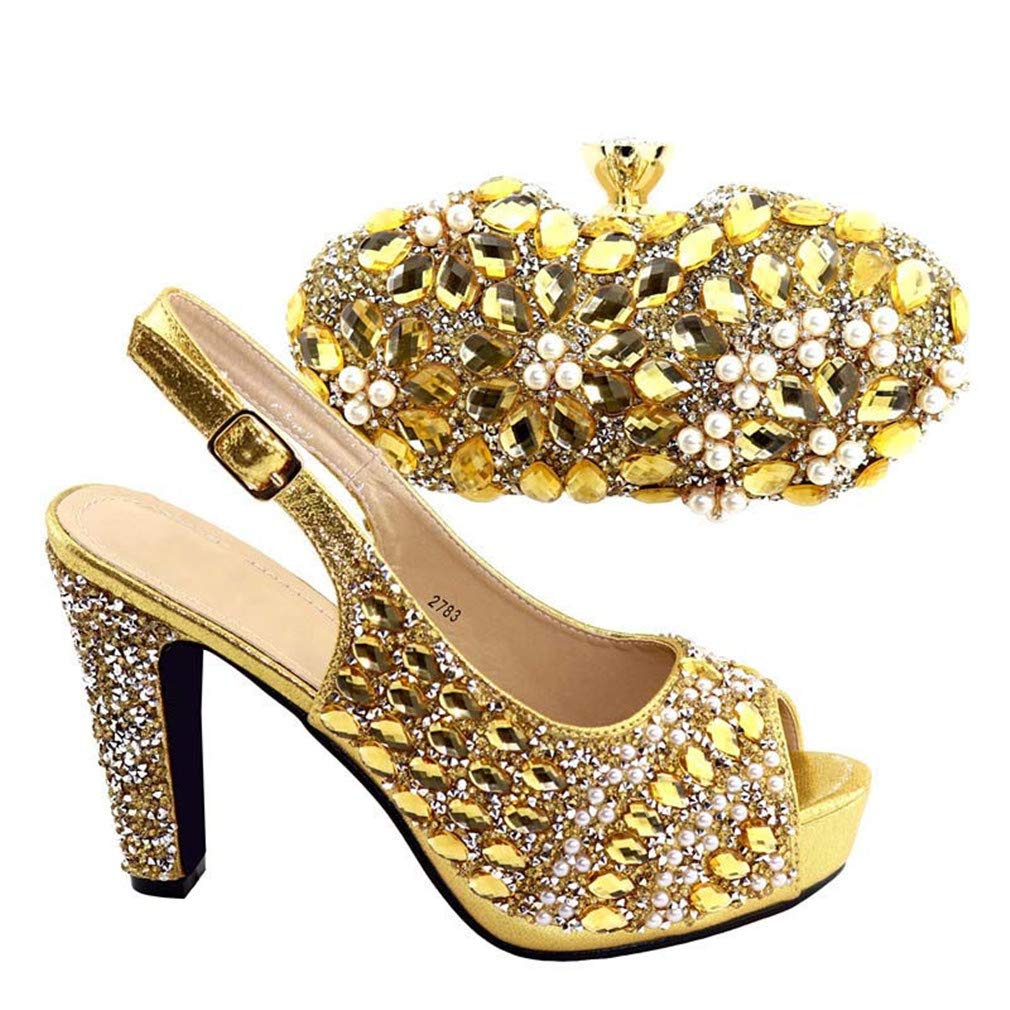 Shoes and Bag to Match Shoes with Bag Set Silver Color Shoe and Bag Set for Party in Women Gold 40