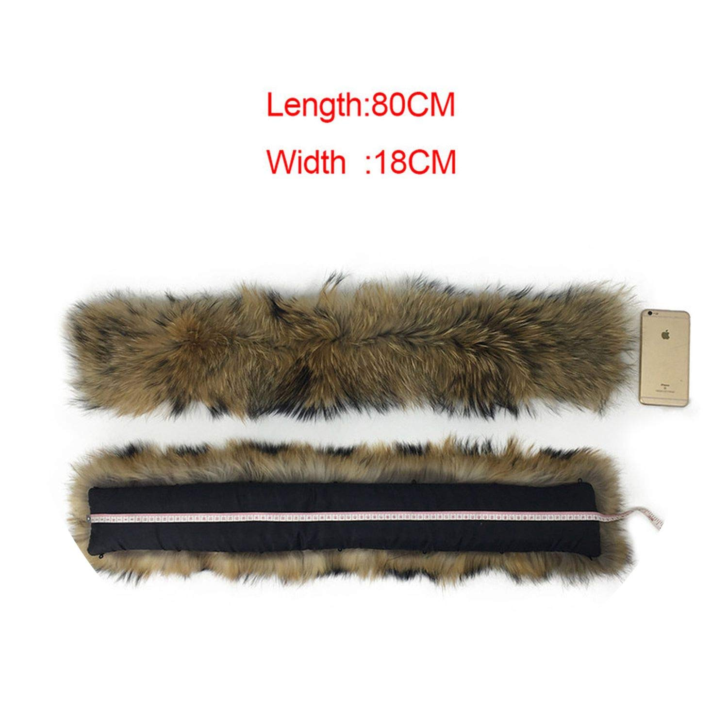 80CM X 18CM 65cm 75cm 80cm 85cn 90cm 100% Natural Real Raccoon Collar Women Scarf Winter Coat Neck Cap Long Warm Genuine Real Sarf,70CM X 18CM