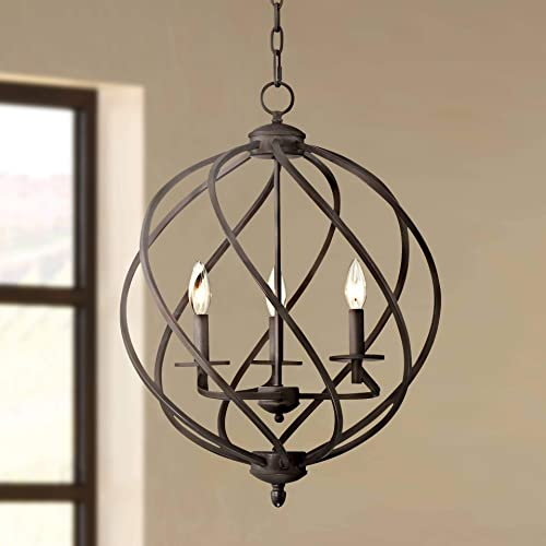 Katerina Bronze Orb Foyer Pendant Chandelier 18 1 2 Wide Rustic Farmhouse 3-Light Fixture for Dining Room House Foyer Kitchen Island Entryway Bedroom Living Room – Franklin Iron Works