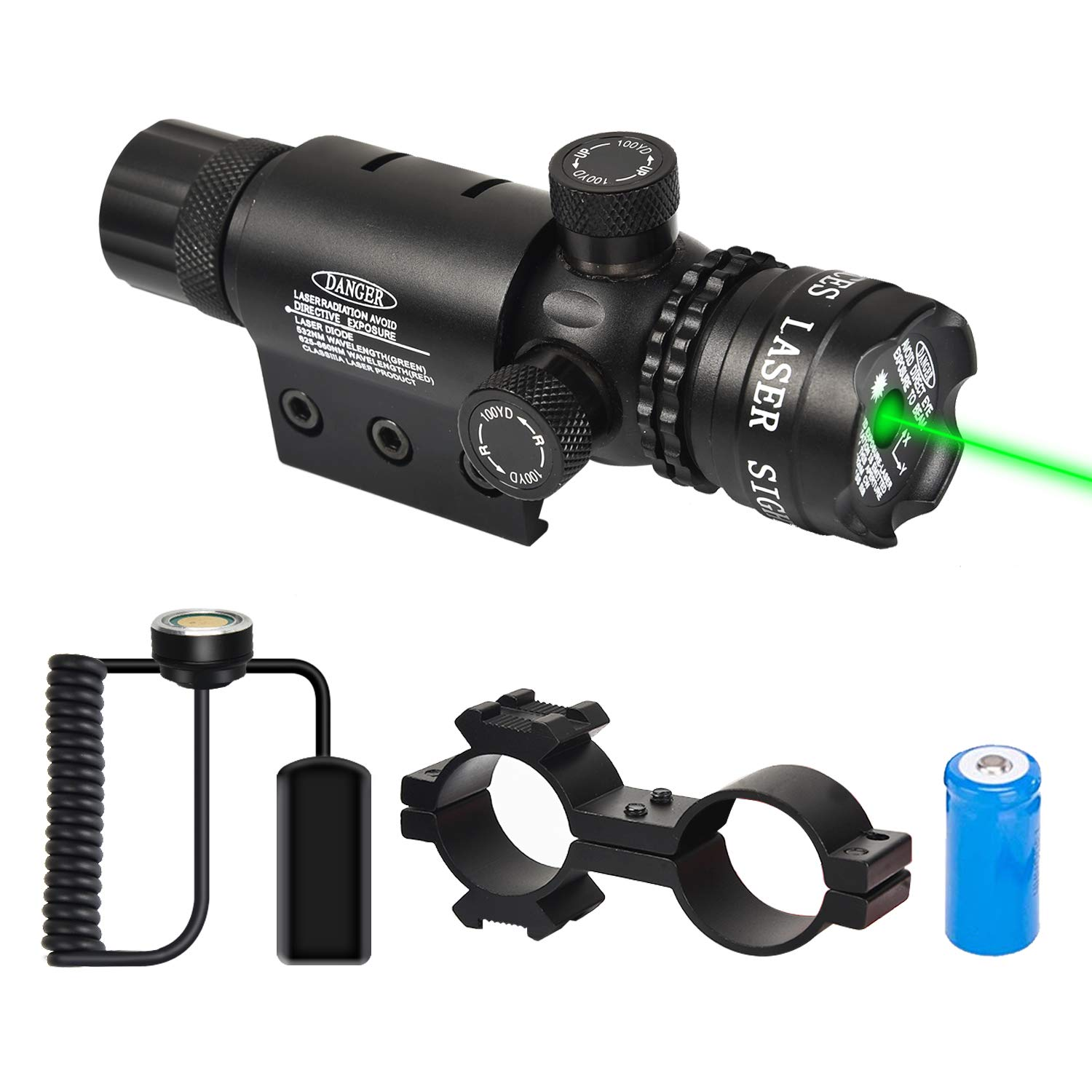 EZshoot Green Laser Sight Green Dot 532nm Rifle Scope with 20mm Picatinny Mount - Include Barrel Mount Cable Switch by EZshoot