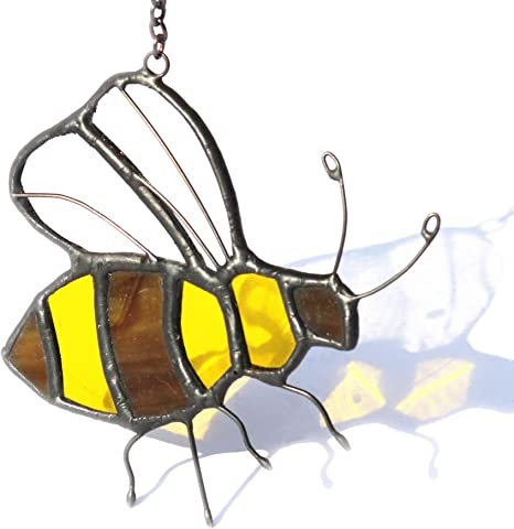 Birthday present ideas Bee Wall hangings Fused glass Suncatcher Handmade Glass wall art