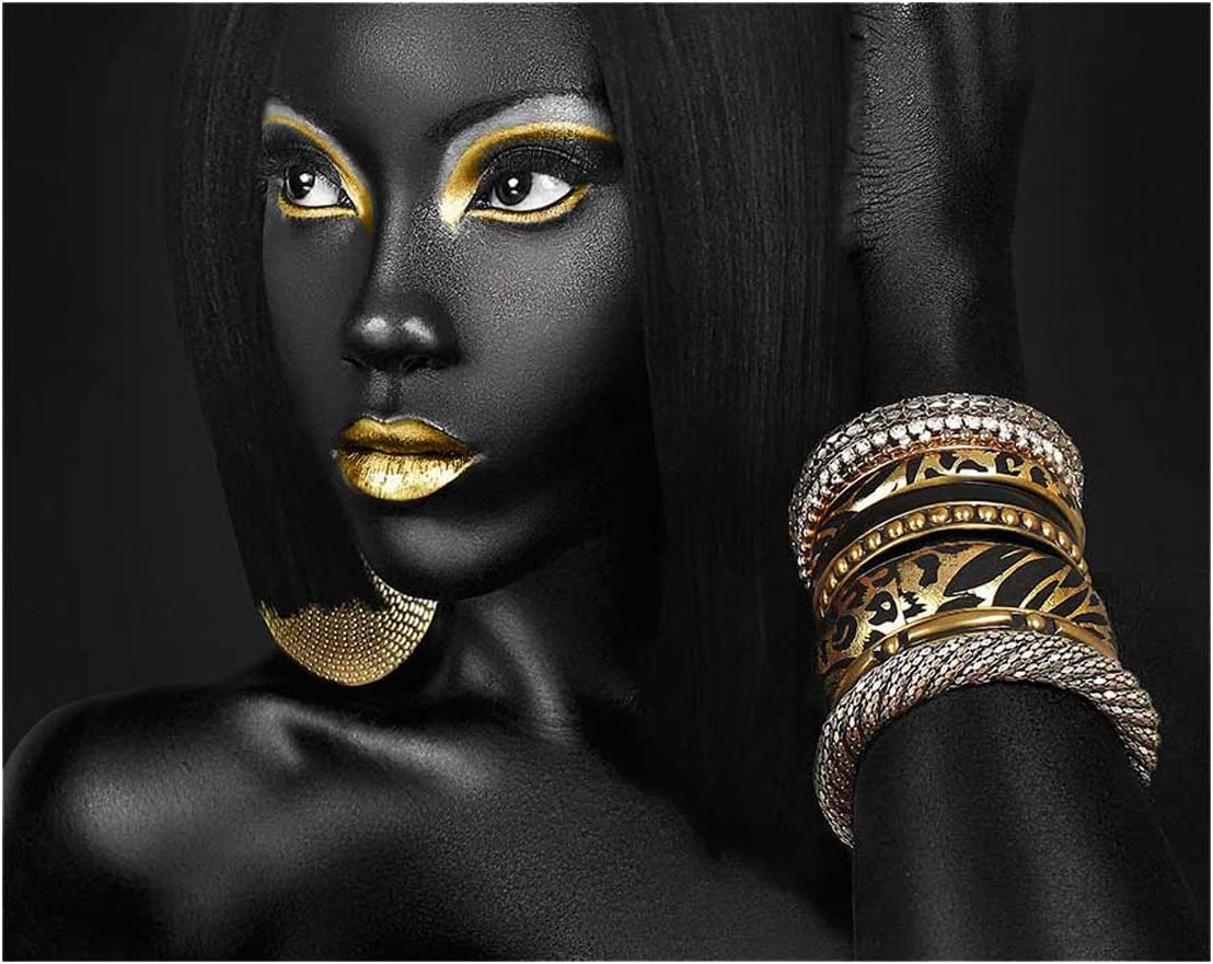 African American Wall Art Canvas Black Woman Queen Portrait Photography with Gold Accents Earring Bracelet Wall Art Poster Modern Art Decor Painting for Home Decorations(Unframed,16x20 inches)