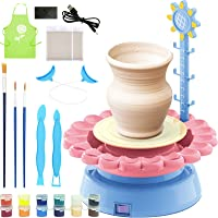 ZBINGLY Electric Pottery Wheel for Kids, Ceramic Machine with DIY Air Dry Sculpting Clay, Educational DIY Art Craft Kit Pottery Studio for Aged 8 and Up