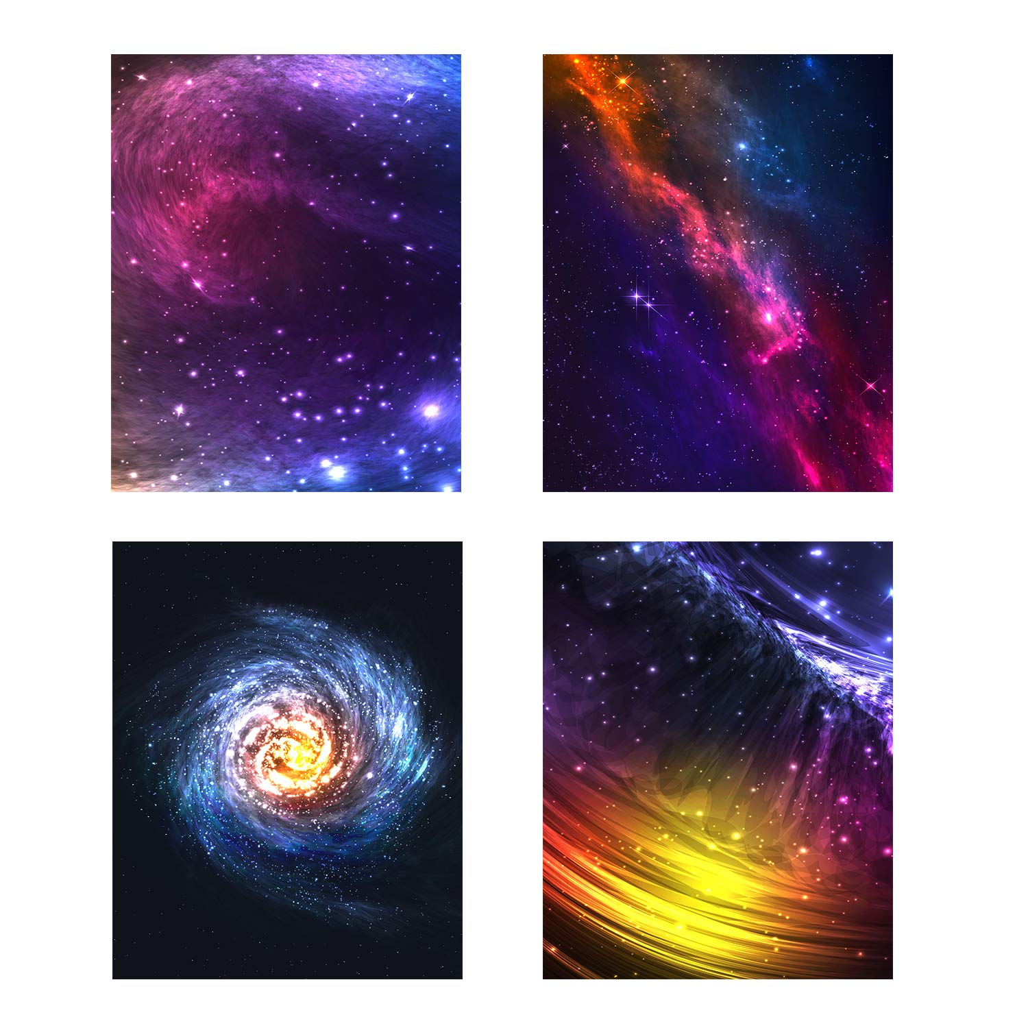 Galaxy and Space Canvas Wall Art - Colorful Starry Pictures for Living Room/Blue Starlight Nebula Nursery Decor Artwork/Office Decorations 4 Pieces 8x10 Inches Unframed Print Painting