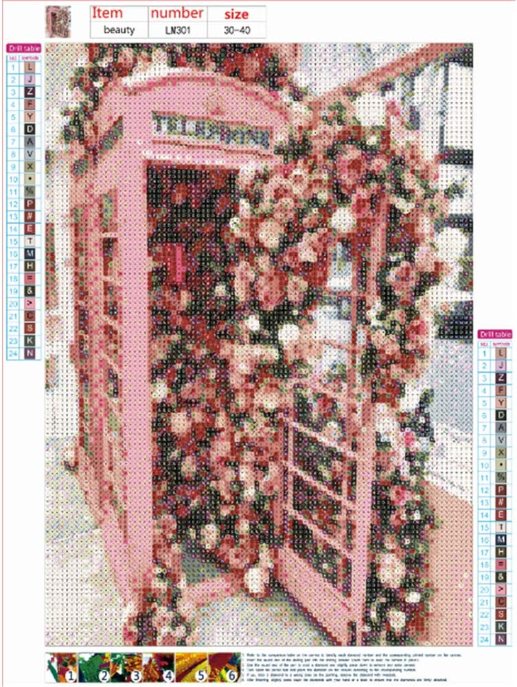 Sunnay 5D Diamant Painting Full,Blumen-Telefonzelle DIY Diamond Painting Set Bilder Voll Zubeh/ör Full Gro/ß,30 x 40 cm