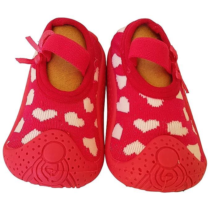 C2BB - Calcetines con suela antideslizante para niñas | Fucsia corazones blancos - Talla: 20