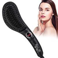 Hair Straightener Brush,30s Fast MCH Ceramic Heating Hair Straightening Brush with Anti Scald Feature,Portable Frizz-Free Silky Electric Straightening Comb,Auto-Off & Dual Voltage