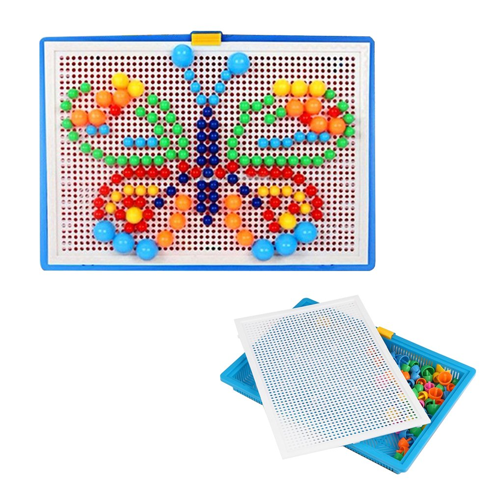 Wefond Creative Puzzle Pegboard DIY Kids Mushroom Nails Composite Picture Jigsaw Puzzle Educational Toys, 6 Color, 3 Sizes & 296pcs