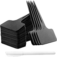 Whaline 100 Pcs Plastic Plant Labels Waterproof Nursery T-Type Garden Tags Black Plant Markers 2.36″ x 3.94″ with White Marker Pen