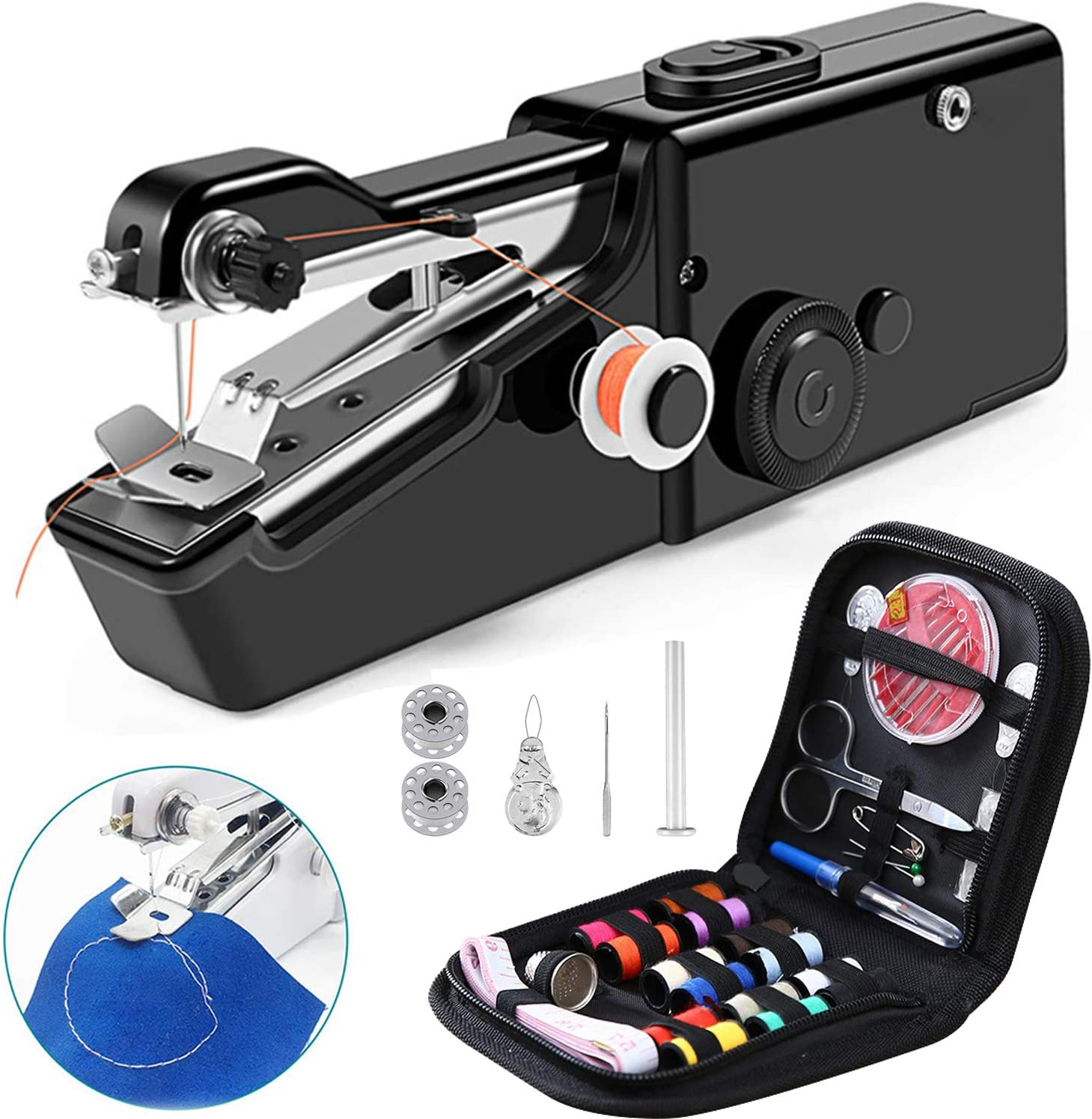 Electric Sewing Machine with Free Sewing Kit Mini Sewing Machine YCDTMY Mini Portable Portable Electric Sewing Machine Kit Black