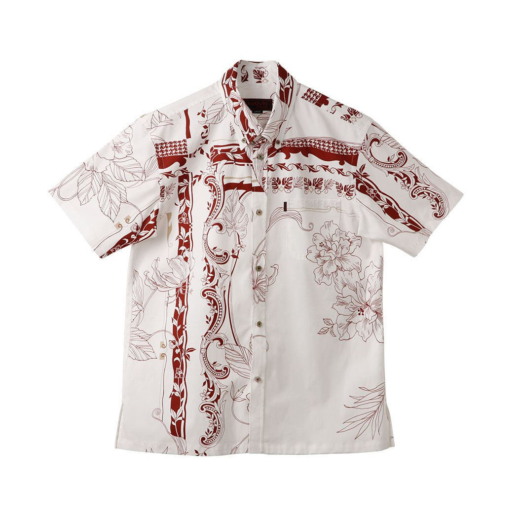 かりゆしウェア メンズ (沖縄版アロハシャツ) ボタンダウン ラグジュアリークロス B01EHFFCFQ M|ホワイト/ワイン ホワイト/ワイン M