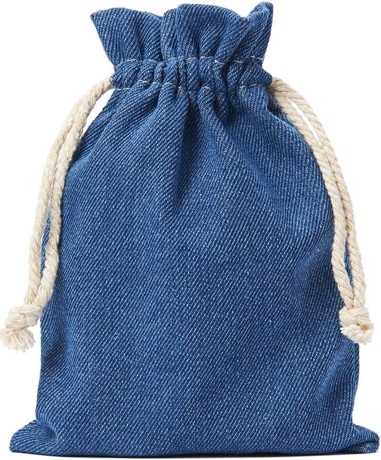 5 bolsas de tela de vaquero, bolsitas de algodón en celeste, tamaño 39 x 29 cm con cordón blanco para cerrar, 100% algodón, tela denim, bolsa de regalo (azul): Amazon.es: Hogar