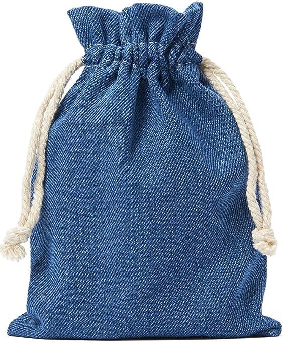 10 bolsas de tela vaquera de algodón, de algodón en azul, con ...