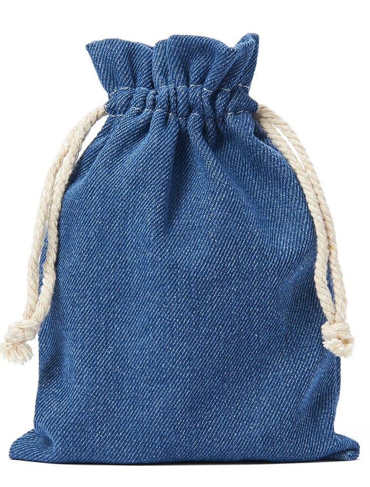 10 Stück Jeans-Stoff-Beutel, Baumwollbeutel, Baumwollsäckchen in Blau, Grösse: 10x8 cm (Höhe x Breite) mit Kordel zum Zuziehen,100% Baumwolle / Denim-Stoff organzabeutel24