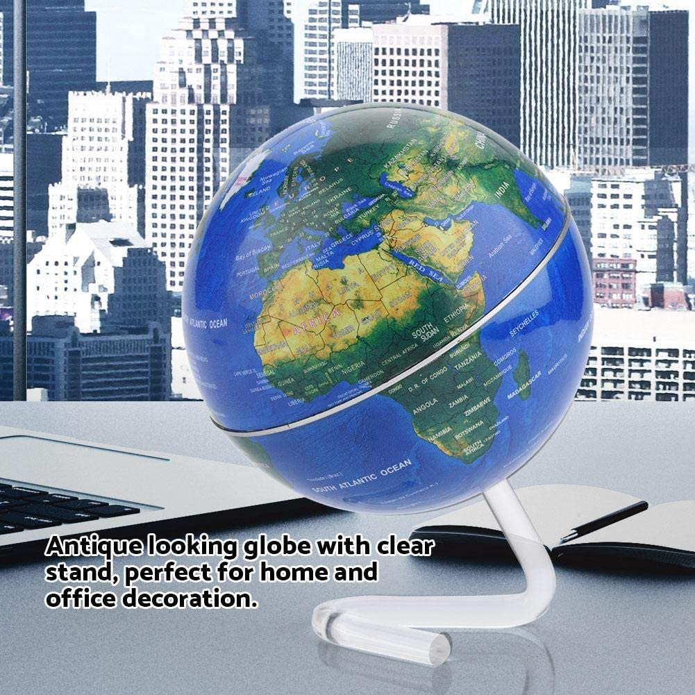 for School Silver Educational and Fun Unique Rotating World Globe with Transparent Stand Children Adults Earth Globe