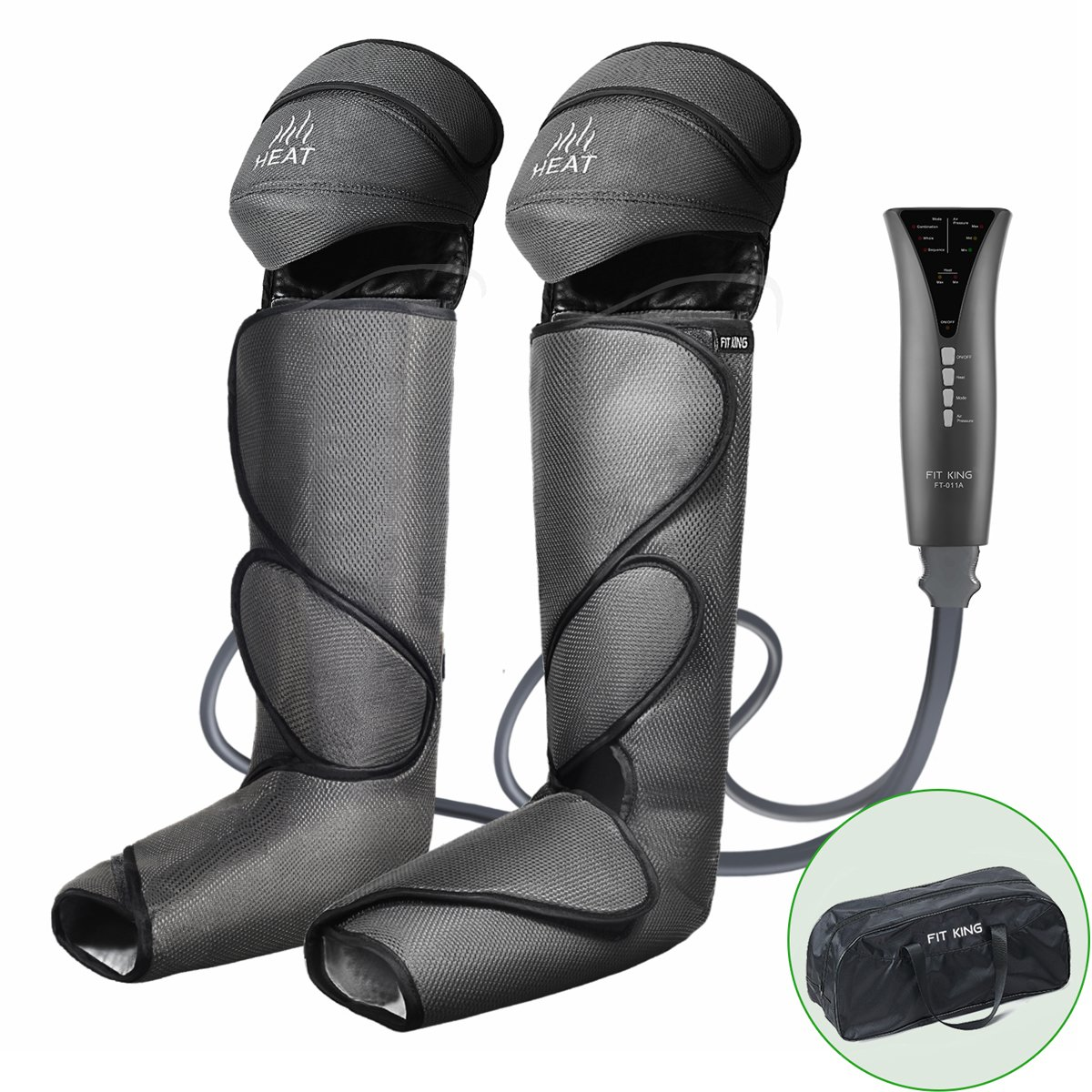 FIT KING Leg & Foot Air Massager and Knee Warmer for Foot Calf and Knee Circulation Massage with Size Extensions and 3 Modes 3 Intensities