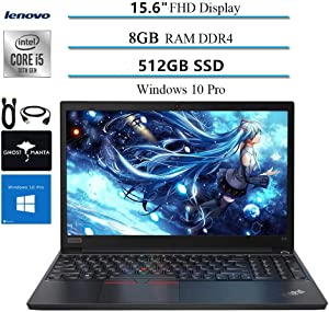 "2020 Lenovo ThinkPad E15 15.6"" FHD Business Laptop Computer, 10th gen Intel i5-10210U (up to 4.20GHz,Beatsi7-8550u), 8GB RAM, 512GB SSD, WiFi HDMI Win10 Pro w/Ghost Manta Accessories"