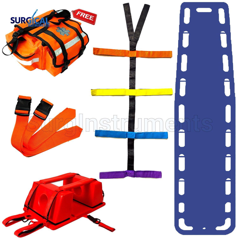 Blue EMT Backboard Spine Board Stretcher Immobilization Kit - Free Trauma Bag