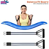 Balance Fit Board with 4 Resistance Bands- Fitness Board for Full Body Workout- Non-Slip& Sturdy Design- Great for Indoor and Outdoor Workouts- Great for Shoulders, Arms, Abs& Legs Intensive Workouts