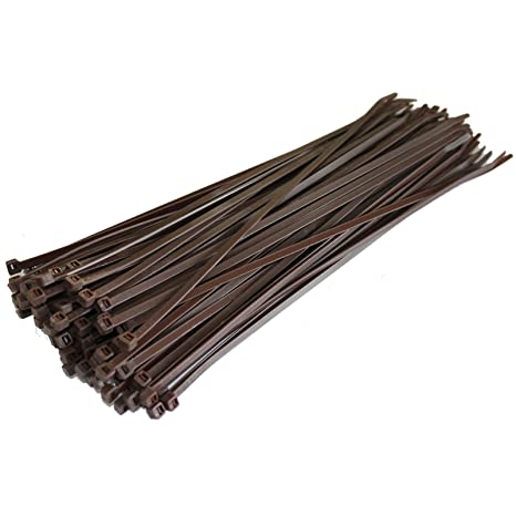 UK Manufactured DISCOUNTED 100 BROWN CABLE TIES 300mm X 4.8mm