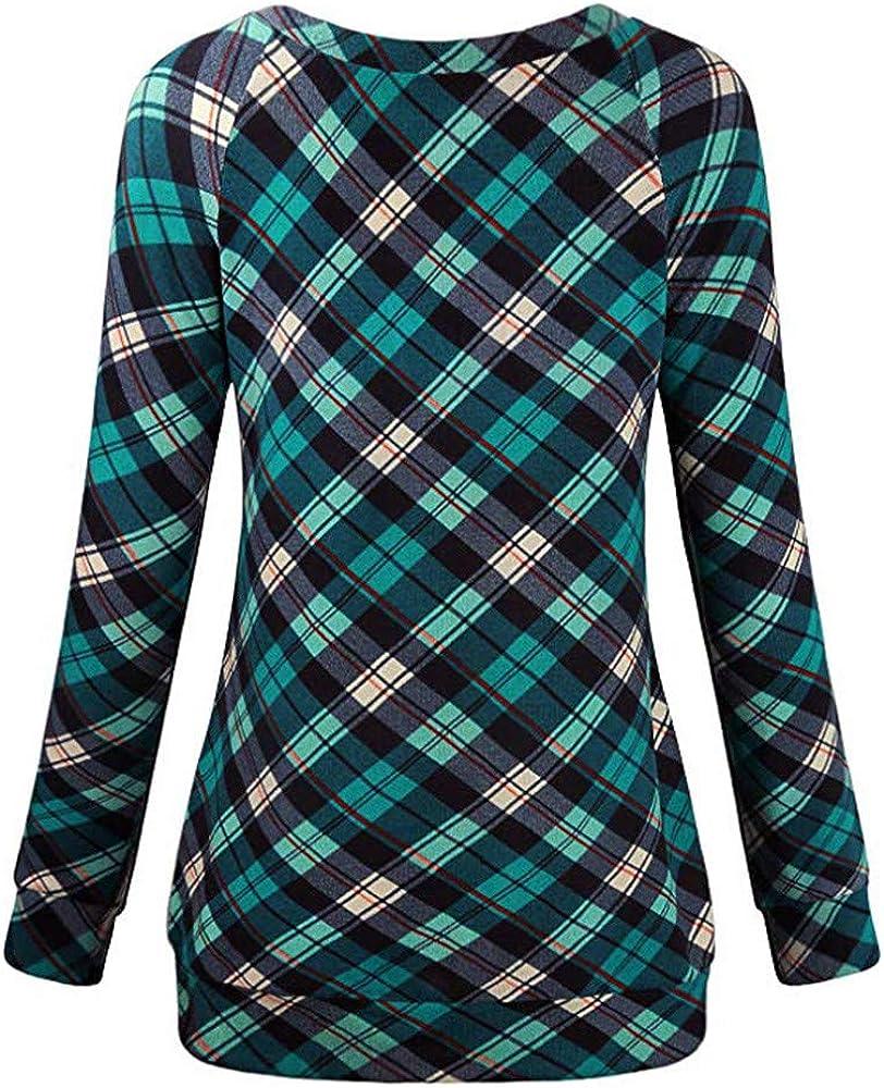JJLIKER ❤ Women Stylish Sweatshirt Fashion Striped Lattice Round Neck Pullover Long Sleeve Casual Simple Blouse Tops
