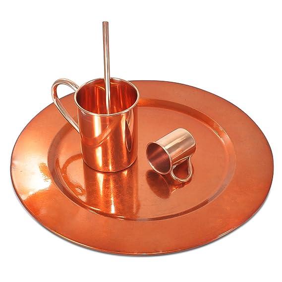 Dungri ® liso Revestimiento de cobre de la placa del cargador con alta calidad de cobre puro de Moscú Taza Mule 15 oz, Paja y tiró la taza de 2 Oz, ...