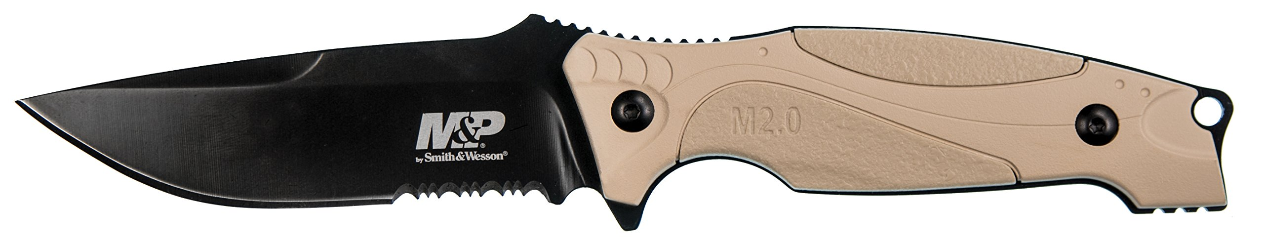 Smith & Wesson M&P M2.0 9in S.S. Full Tang Thin Fixed Blade Knife with 4in Drop Point Blade and Rubber FDE Handle for Outdoor Tactical Survival and Everyday Carry by Smith & Wesson (Image #1)