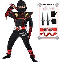 Ninja Costume Boy Halloween Kids Costume Boy Ninja Muscle Costume with Ninja Foam Accessories Best Children Gifts