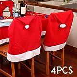 4 Stück Weihnachten Deko Stuhlhussen Stuhlabdeckung Stuhlbezug Weihnachtsmann - Mütze Rot