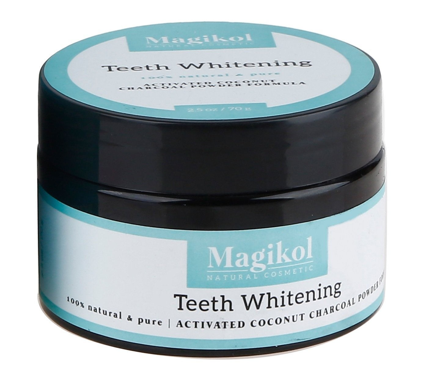 Magikol Teeth Whitening Activated Coconut Charcoal Powder | 100% Pure & Natural Active Whitener | Prime Organic Wow Ingredients- No Fluoride | Better than Gel, Strips,Toothpaste | Extra Large 70g