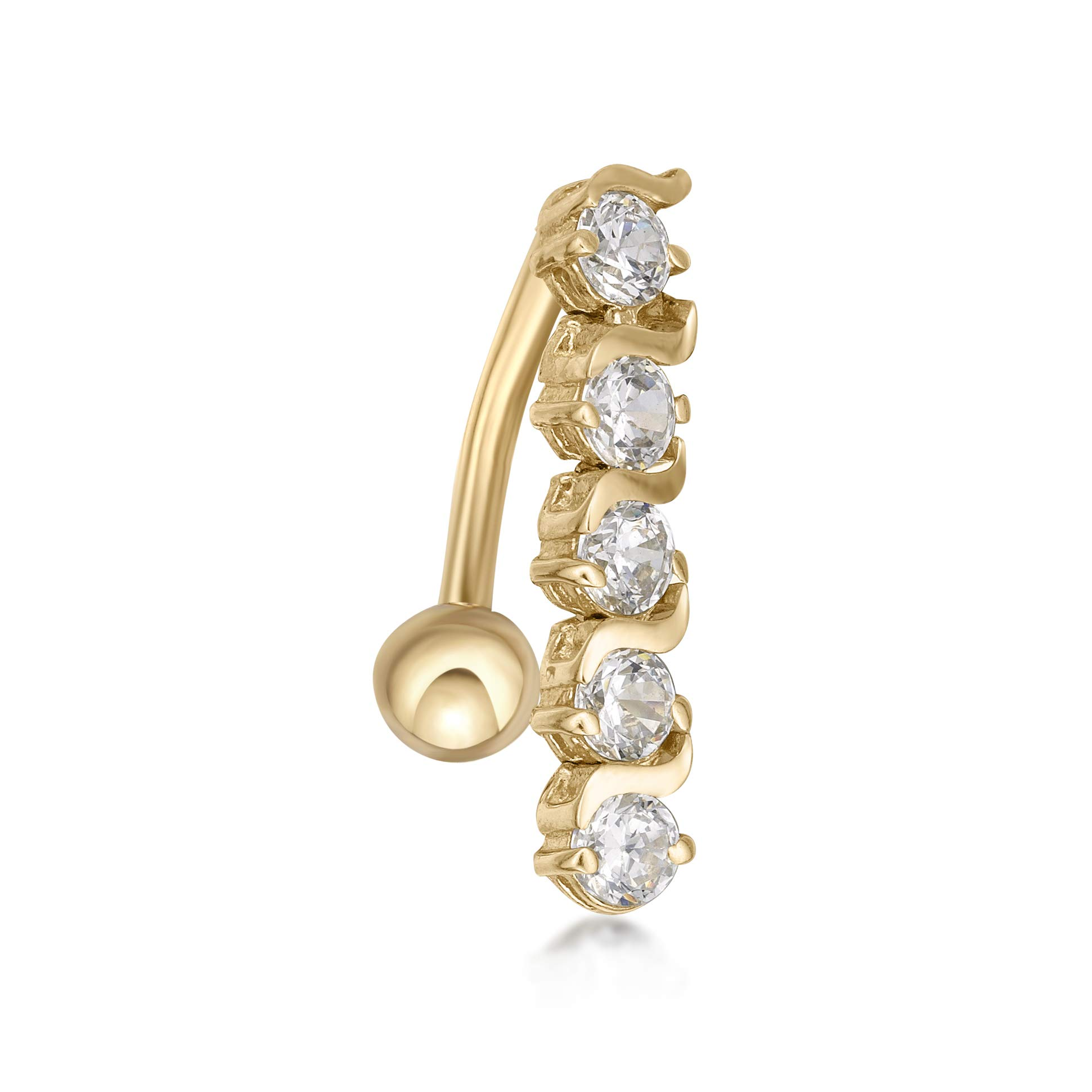 Lavari - 10K Yellow Gold Top Mount White Cubic Zirconia Belly Button Ring 16 Gauge 12MM by Lavari Jewelers